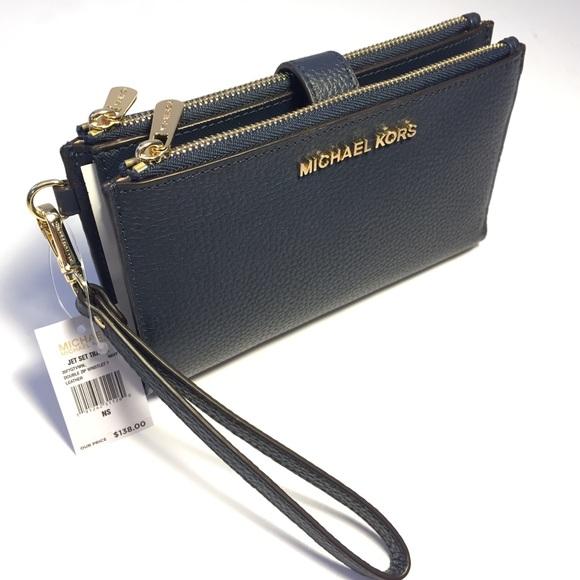 89910c49c885 Michael Kors Bags | Jet Set Leather Wristlet Wallet Navy | Poshmark